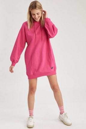 DeFacto Kadın Pembe Basic Kapüşonlu Oversize Sweat Elbise