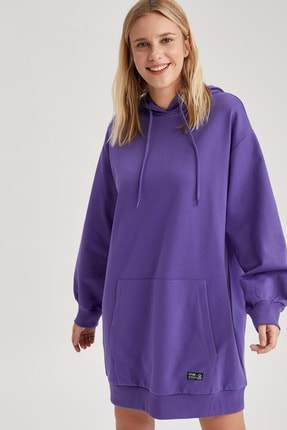 DeFacto Kadın Mor Basic Kapüşonlu Oversize Sweat Elbise