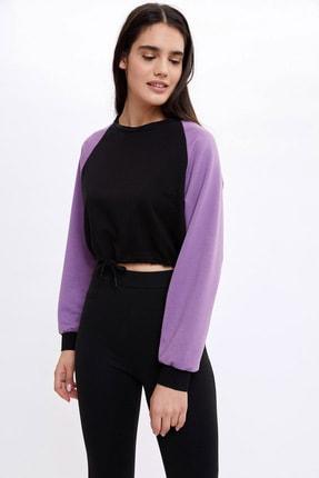 DeFacto Kadın Mor Kayık Yaka Beli Büzgülü Crop Sweatshirt