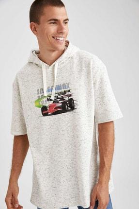 DeFacto Araba Baskılı Slim Fit Kısa Kollu Oversize Fit Sweatshirt