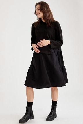 DeFacto Kadın Siyah Kapüşonlu Hamile Sweat Elbise