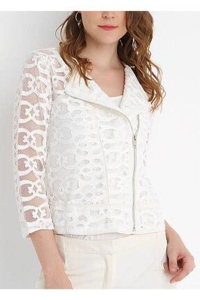 SERPİL Kadın Beyaz Lazer Kesim Detaylı Ceket 21819