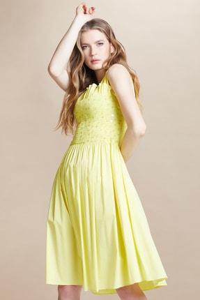 SERPİL Kadın Sarı Gipe Lastik Ve Işlemeli Elbise 27817