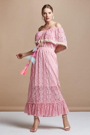 SERPİL Kadın Pembe Dantel Elbise 30319