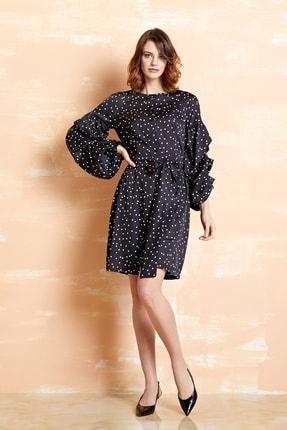 SERPİL Kadın Siyah Ekru Puantiyeli Elbise 32732