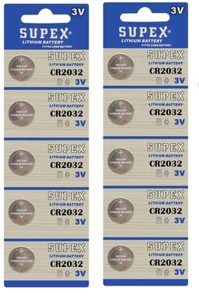 Supex 10 Adet 3 Volt Cr2032 Lityum Para Pil (dl2032 Bios-kepenk-kumanda Taerazi Düğme Lithum Pili)