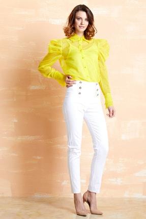SERPİL Kadın Sarı Organze Gömlek 32151