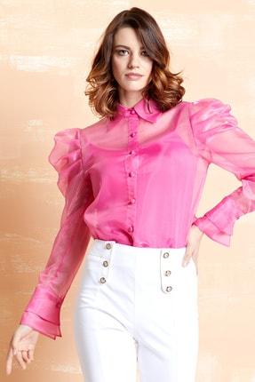 SERPİL Kadın Pembe Organze Gömlek 32151