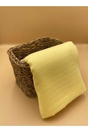Lumiyard %100 Doğal Pamuk Müslin Kumaş, 120x120cm Örtü, Sarı