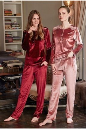 Feyza Pijama Kadın Pembe Kadife Takım