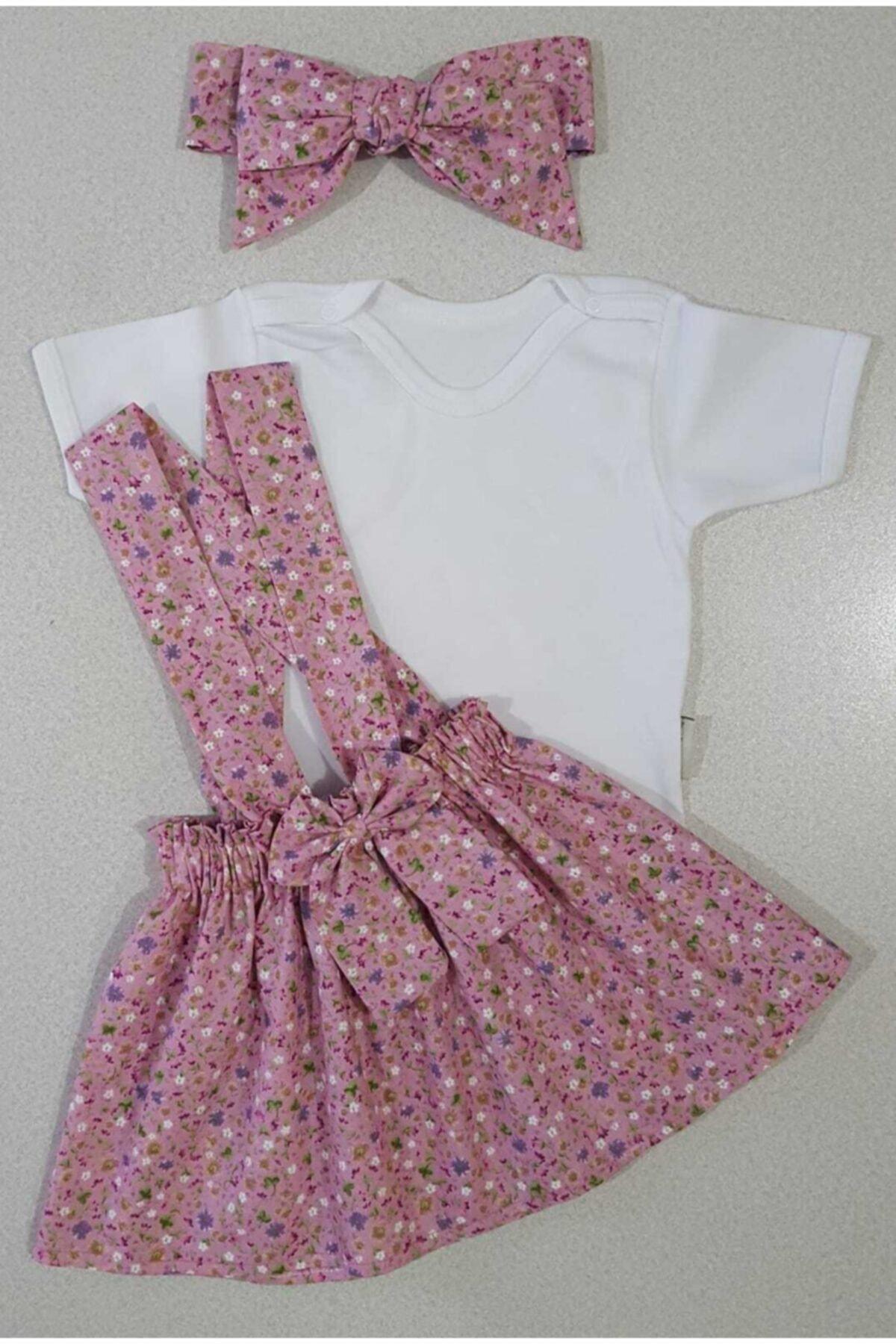 Yumurcak Kız Çocuk Pembe Çıtır Çiçek Elbise Bandana Badi Takım 1