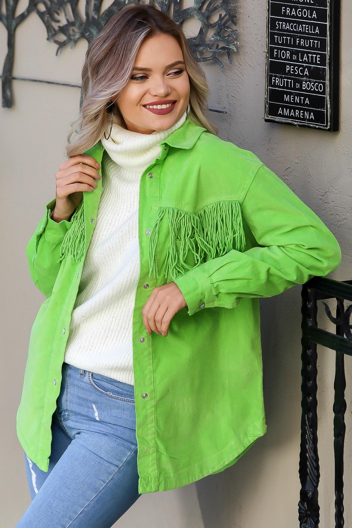 Chiccy Kadın Neon Yeşil Dev Saçaklı Cepli Salaş Kadife Gömlek Ceket M10210100CE99173