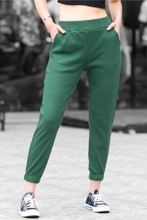 Madmext Kadın Yeşil Fitilli Basic  Eşofman MG363