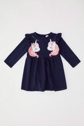DeFacto Kız Bebek Lacivert Unicorn Baskılı Selanik Kumaş Elbise