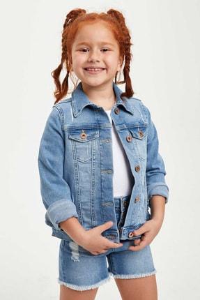 DeFacto Kız Çocuk Regular Fit Yırtık Detaylı Jean Ceket