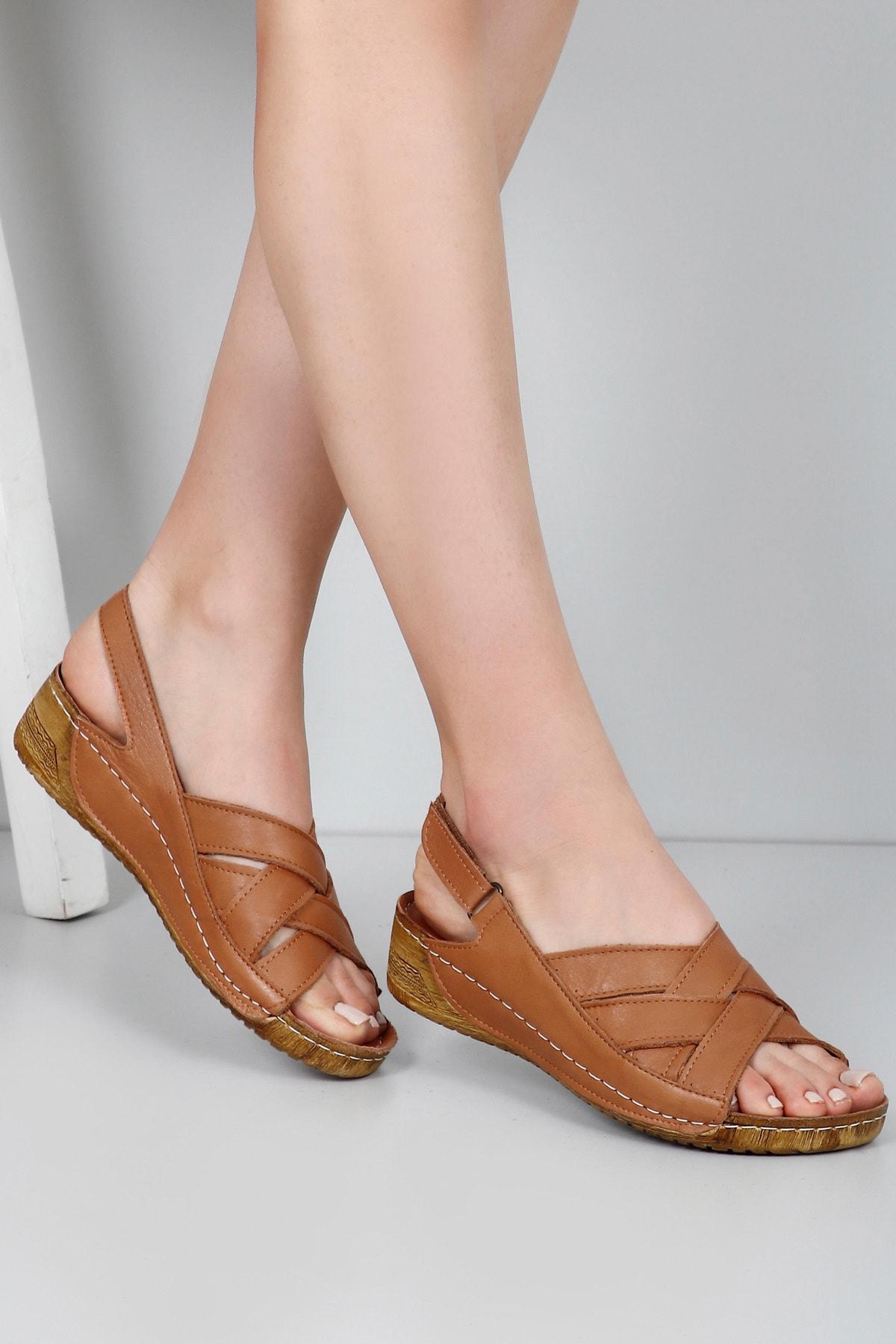 GÖNDERİ(R) Kadın Kahverengi Hakiki Deri Sandalet 42310 1