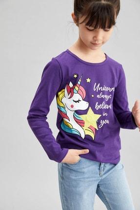DeFacto Kız Çocuk Unicorn Baskılı Işıklı Tişört