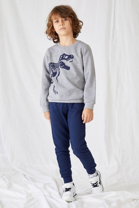 DeFacto Erkek Çocuk Gri Baskılı Sweatshirt Ve Eşofman Takım