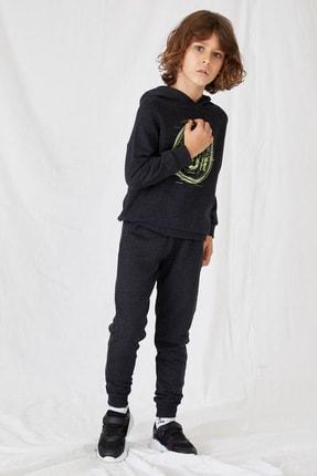 DeFacto Fit Erkek Çocuk Gri Baskılı Sweatshirt Ve Eşofman Takım