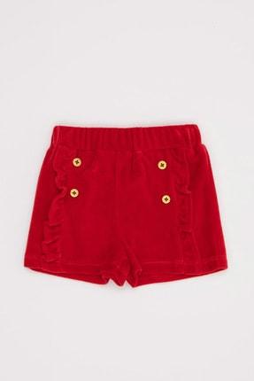 DeFacto Kız Bebek Kırmızı Kadife Kumaş Şort