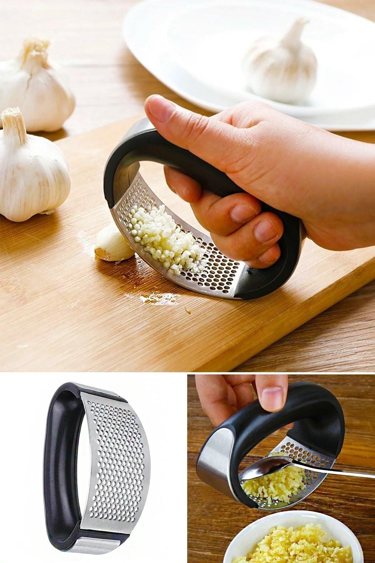 Kitchen Life Tutma Kollu Lüx Paslanmaz Çelik Sarımsak Ezici 1