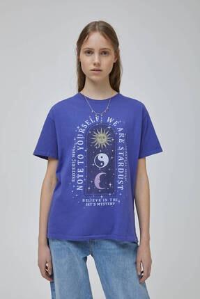 Pull & Bear Kadın Mor Mistik Grafik Görselli  T-shirt