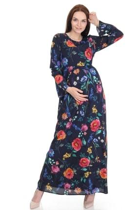 Entarim Kadın Lacivert Hamile Tesettür Maxi Çiçekli Elbise