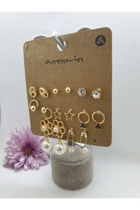 Accessories Kadın Incili Gold Renk Çoklu Küpe