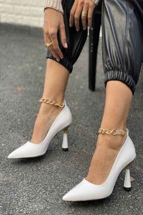 İnan Ayakkabı Kadın Beyaz Sivri Burun Bilek Zincir Detaylı Topuklu Ayakkabı