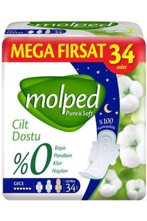 Molped Pure&soft Hijyenik Ped Mega Fırsat Paket Gece 34 Adet Tekli Paket