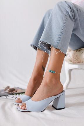 Limoya Kadın Bebek Mavisi Pastel Renk Topuklu Terlik