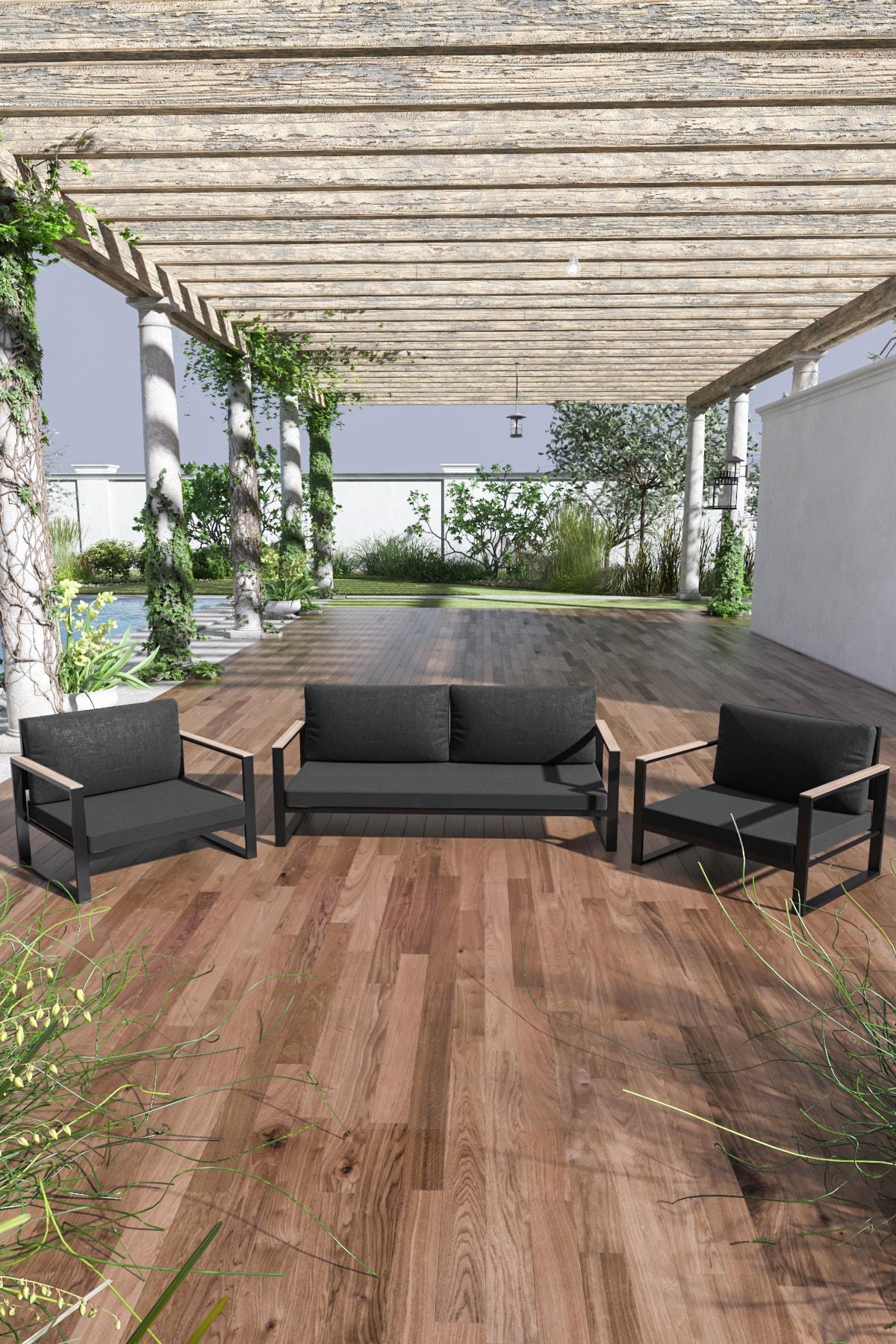 Evdemo Siyah Kobalt Bahçe Balkon Oturma Takımı 2+1+1 1