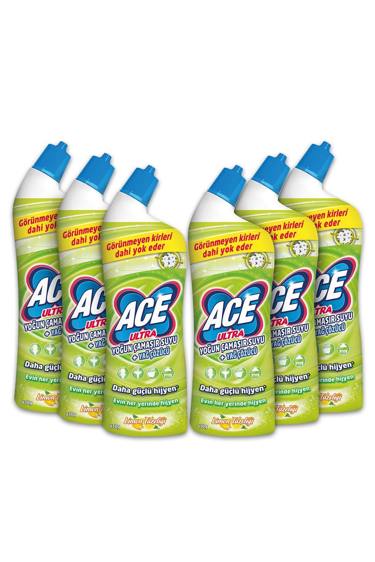 ACE Ultra Power Jel Kıvamlı Çamaşır Suyu Limon Tazeliği 810 Gram X 6 Adet 1