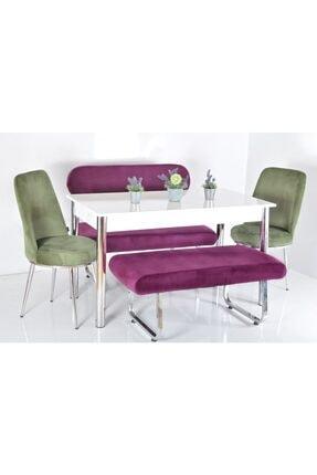 Kaktüs Avm 6 Kişilik Banklı Mutfak Masası Yemek Masa Sandalye Takımı
