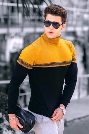 Madmext Erkek Hardal Renk Bloklu Balıkçı Yaka Kazak 4675