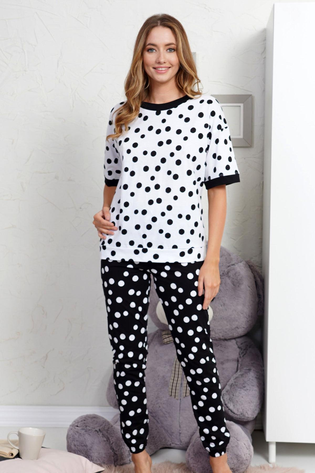 VİENETTA Pamuklu Düşük Omuzlu Kısa Kol Pijama Takım 2