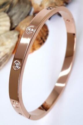 Bin1Gecem Takı Kadın Zirkon Taşlı Paslanmaz Çelik Cartier Bileklik Bilezik 18 Cm