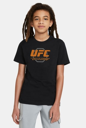 QIVI Ufc Ultimate Fighting Championship Baskılı Unisex Çocuk Siyah Tshirt