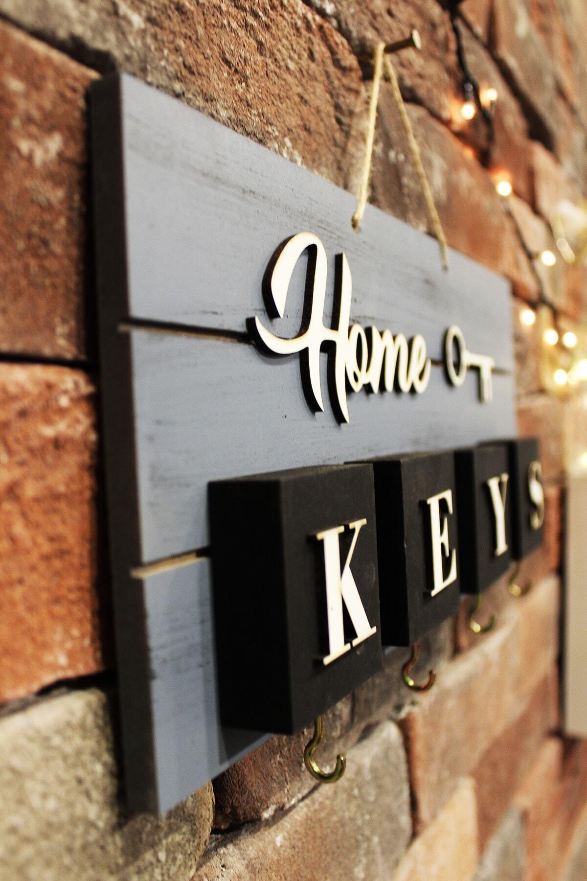 The Company Home El Yapımı Ahşap Anahtarlık, Askısı Pano Anahtarlık Gri Renk 1