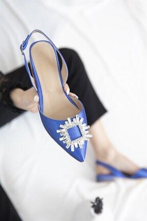 STRASWANS Loden Kadın Topuklu Taş Detay Saten Sandalet Saks Mavi