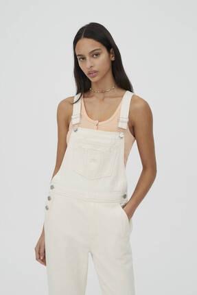 Pull & Bear Kadın Beyaz  Etiket Detaylı Denim Salopet