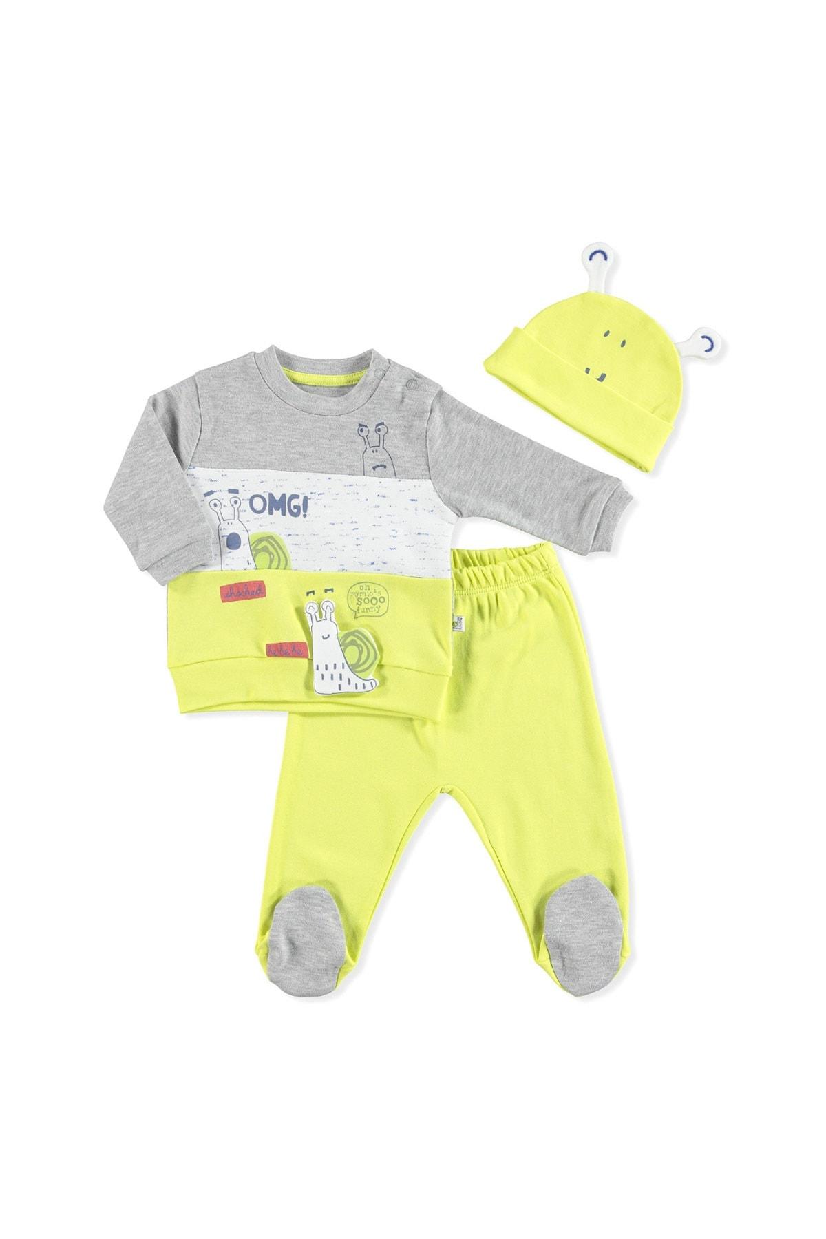 Mymio Erkek Bebek Sarı Şapkalı 3lü Takım 1
