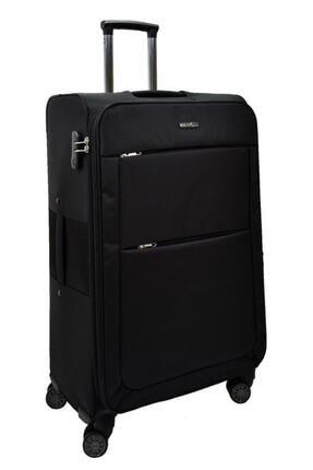 ÇÇS Siyah Büyük Boy Kumaş 4 Tekerlekli Valiz