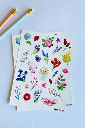 Funbou Şekilli Sticker, Flowers / 2 Sayfa