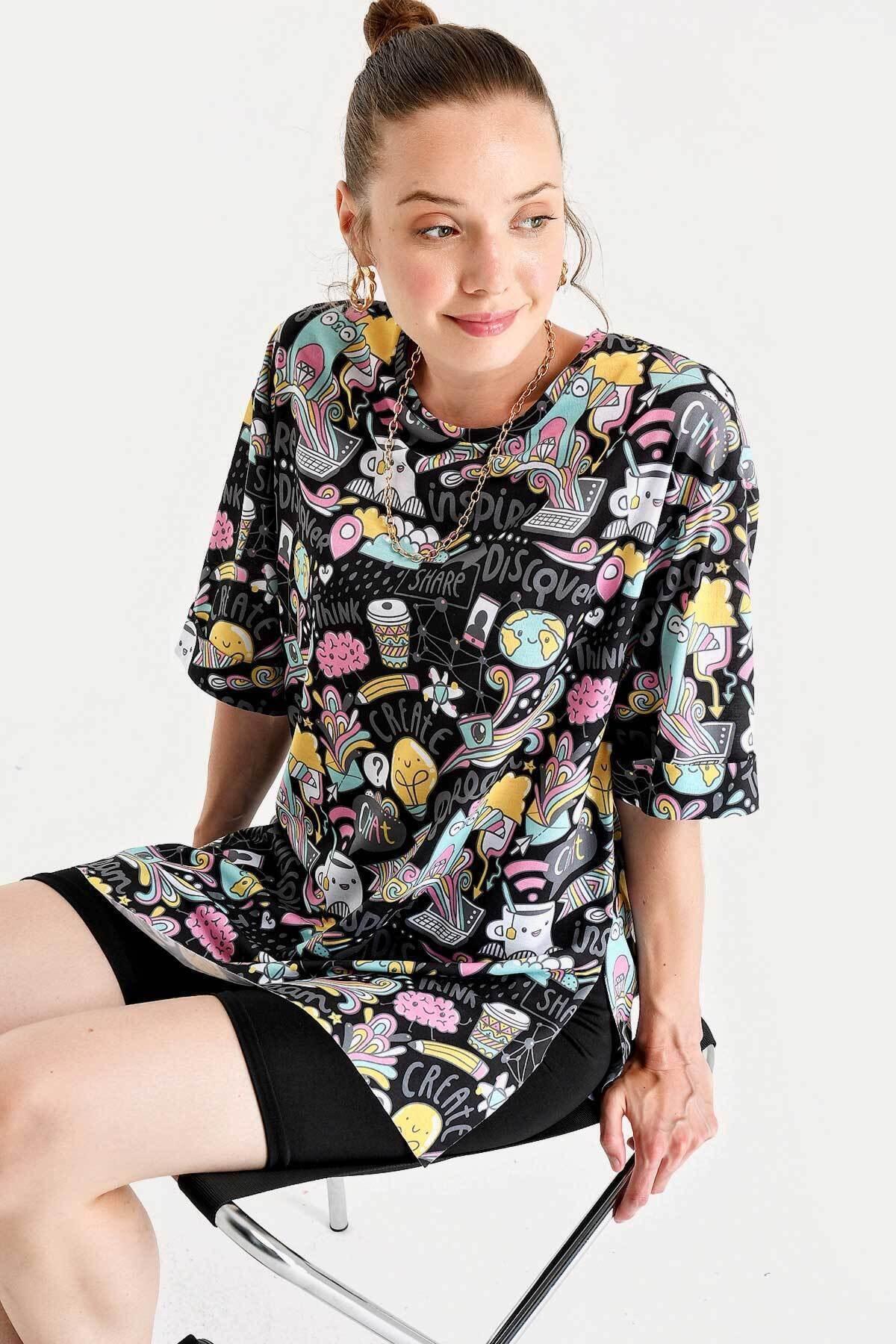 Pattaya Kadın Baskılı Yırtmaçlı Kısa Kollu Tişört Y20s110-3124 1