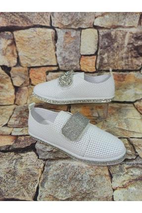 Markopark Kadın Beyaz Cırtlı Taşlı Ayakkabı