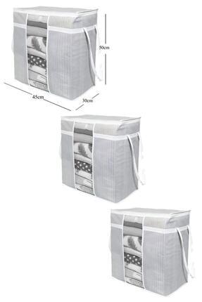 BTS Shop 3 Adet - Pencereli Saklama Çantası Çizgili 50x45x30cm