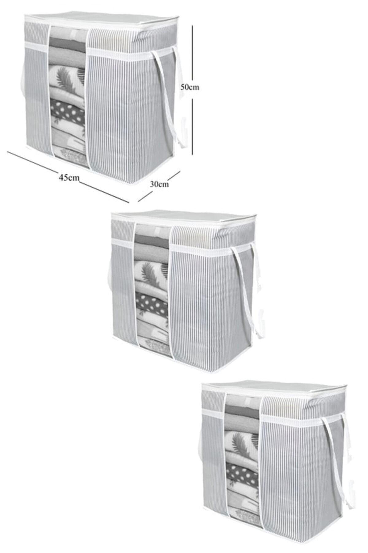 BTS Shop 3 Adet - Pencereli Saklama Çantası Çizgili 50x45x30cm 1