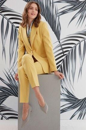 Journey Kadın Sarı Mono Yaka Ön Nervür Detaylı Ceket