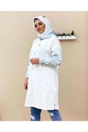 Loreen Kadın Beyaz Kot Kapüşon Sweatshirt